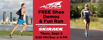 Join Altra Running for Free Shoe Demos & Fun Run on Thursday, September 6 at Skirack