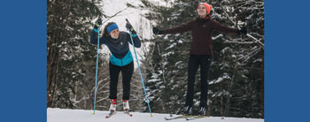 Chloe and Sara take a break from (having fun) cross country skiing at Craftsbury Outdoor Center. Photo Credit: Zach Walbridge.
