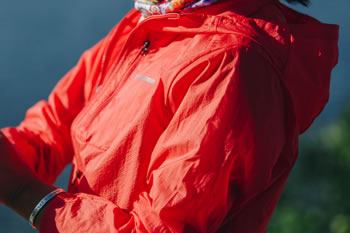 Patagonia's lightweight Houdini Jacket (last year's color). Photo Credit: Zach Walbridge.