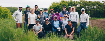 The Patagonia Burlington and Vermont Trailwear staff group photo at the annual Field Day on June 5 at the Intervale Center. Photo: Zach Walbridge.