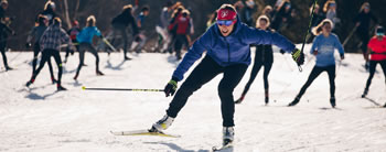 Kikkan Randall leads a group of cross country skiers at Sleepy Hollow Inn Bike and Ski Center. Photo: Zach Walbridge