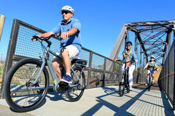 Riding On a Scenic Bridge with the Raleigh Sprite Step Thru Electric Bike