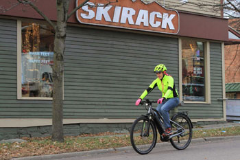 Skirack's Val Cyr rides through Burlington, VT on the Specialized Vado 3.0 Electric Bike